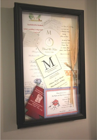 Wedding shadow box. What else am I going to do with my leftover 200 wedding invitations?