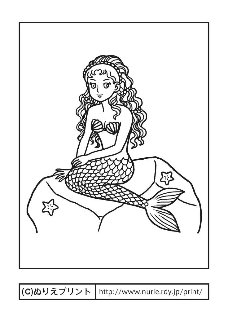 人魚姫・にんぎょひめ(主線・黒)/アンデルセン童話/外国の昔話/昔の塗り絵【ぬりえプリント】