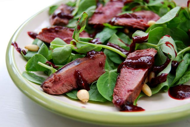 Pan Fried Wood Pigeon Salad with a Fresh Raspberry Balsamic Reduction 2