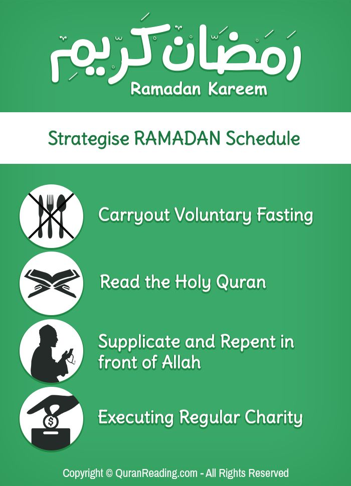 """Whoever draws near to Allah during it (Ramadan) with a single characteristic from the characteristics of (voluntary) goodness, he is like whoever performs an obligatory act in other times. And whoever performs an obligatory act during it, he is like whoever performed seventy obligatory acts in other times."" (Sahih Ibn Khuzaymah) - See more at: http://www.quranreading.com/blog/how-to-strategize-ramadan-schedule/#sthash.2KVDflsB.dpuf"