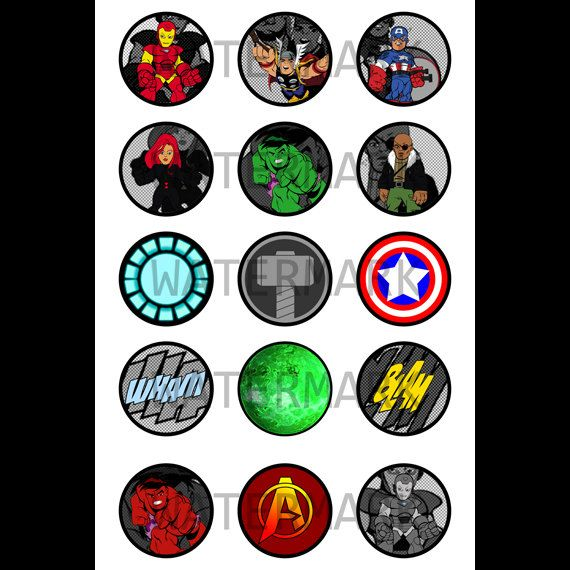 Marvel Avengers 1-inch Round Bottle Cap Images 4 X 6 In