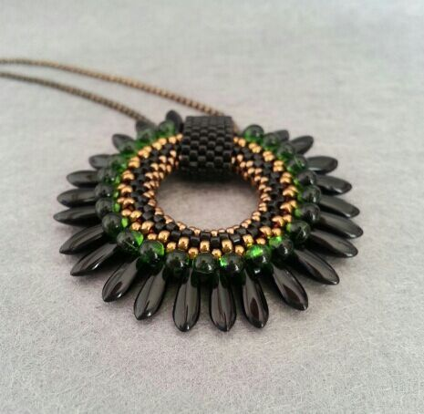 177 best pendants jewellery making images on pinterest jewerly black green dagger beaded pendant delica magamata aloadofball Image collections