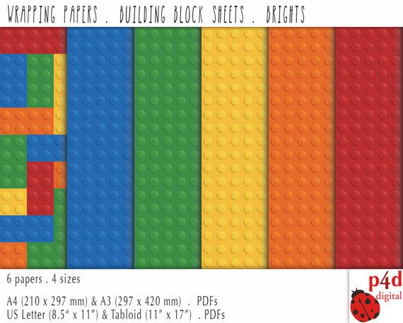 Wrapping Paper  Building Block Sheets  Bright by paper4download