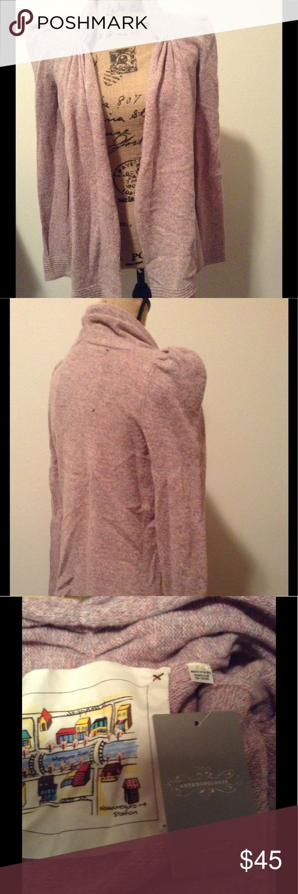 NWT Anthropologie Lady's Choice Cardigan Pink wool blend drape front cardigan. Open front size XS Anthropologie Sweaters Cardigans