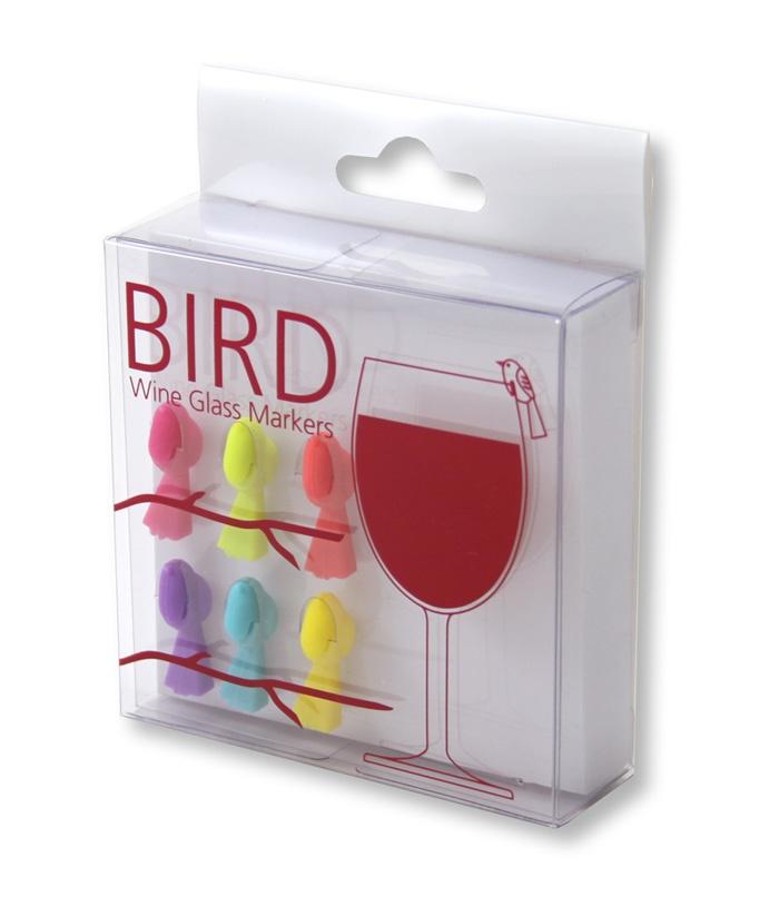 Bird wine glass markers.