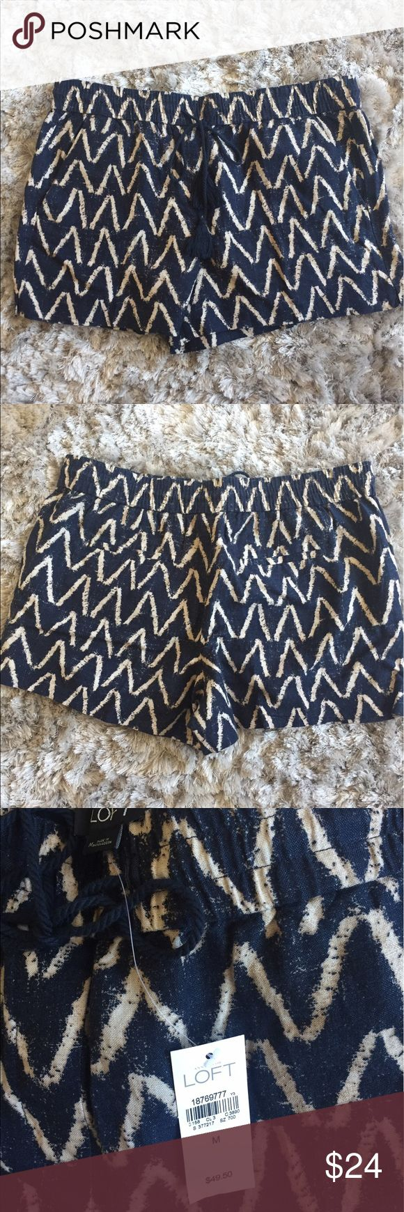 Women's LOFT Zig Zag Shorts Soft, cute, and cozy shorts from Ann Taylor LOFT. Dark blue color with cream/tan zig zag pattern. Has pockets and a drawstring waist with tassels. 4in inseam. LOFT Shorts