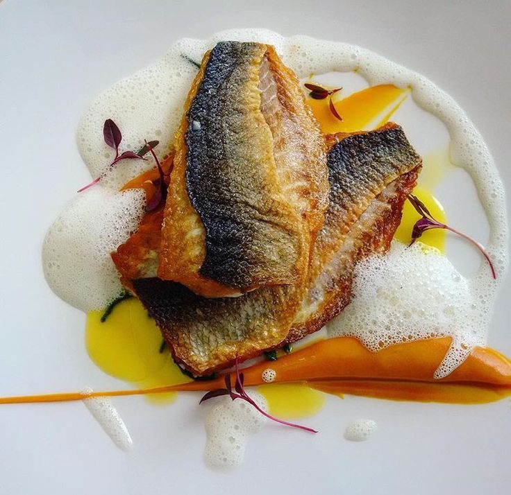 Sea bass with sweet potato purée  @ Dune Restaurant Cafe Lounge in Mielno, Poland