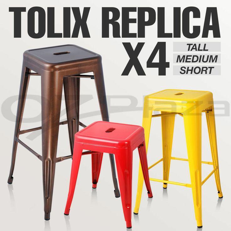Details about 4x Replica Tolix Bar Stool Metal Steel
