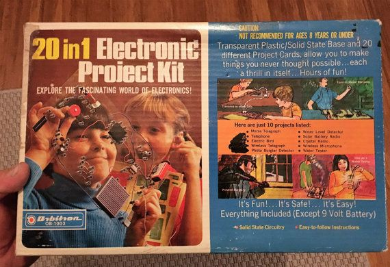 $20    Vintage 1960s 20 in 1 Electronic Project Kit by Orbitron OB-1003 / Explore the World of Electronics / Retro Electrical Battery Powered