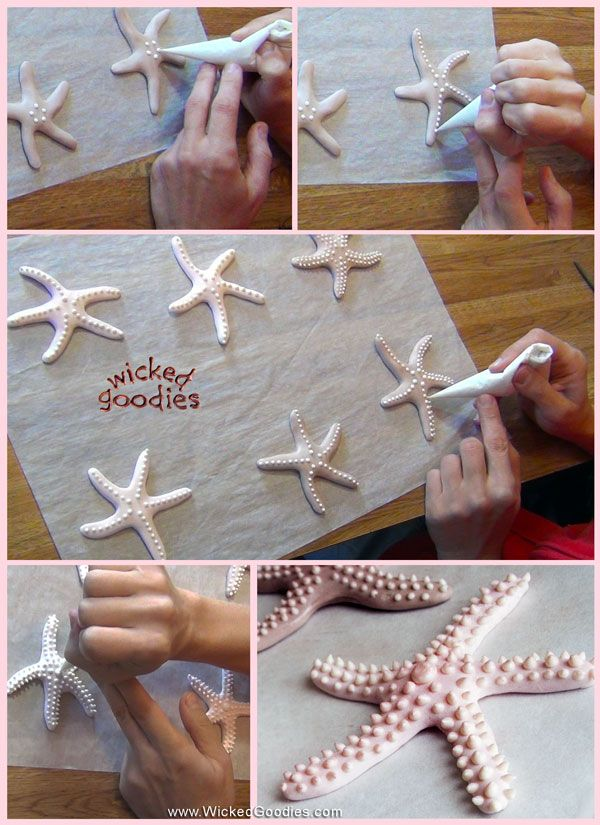 Tutorial with info and instructions on how to make modeling chocolate starfish for beach or seashell themed cake decorating