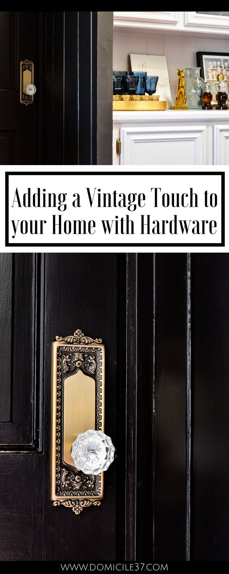 How to add a vintage charm into your home | vintage door knobs | Black doors with vintage door knobs | Moody homes with vintage touches | Vintage eclectic decor | Nostalgic Warehouse | Wayfair door knobs