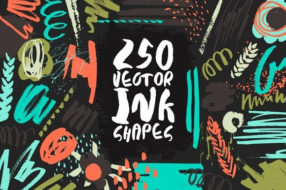 250 Vector Ink Shapes - 50% OFF! by Anastasiia Macaluso on @creativemarket