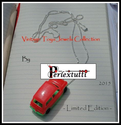 HANDMADE Vintage Toy Necklace  Red Mini SuperCar by Perlextutti