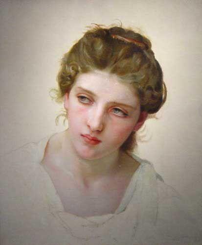 etude de Tete de Femme Blonde de Face (Study of the Head of a Blonde Woman) | William Bouguereau | oil painting #bouguereaupaintings