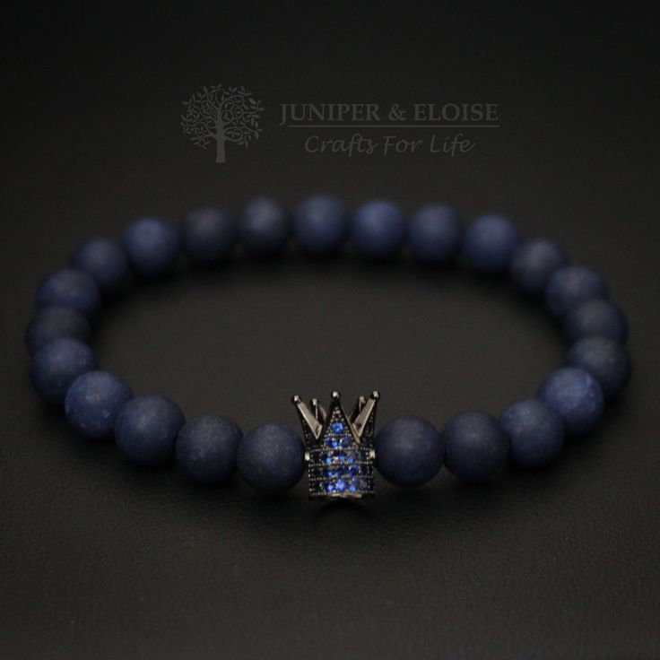Crown Bracelet, Mens Bracelet, King and Queen Armband, Blue Bracelet, Christmas Gift, Black Friday Gift, Pulseira, Stretchy Bracelet by JuniperandEloise on Etsy