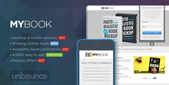 MYBook - Unbounce ebook Landing page