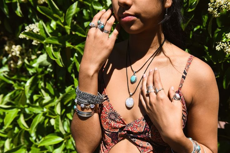 Summer jewelry gypsy look. Moonstone, turquoise gemstone pendant necklaces. Cuffs & sterling silver gemstone rings