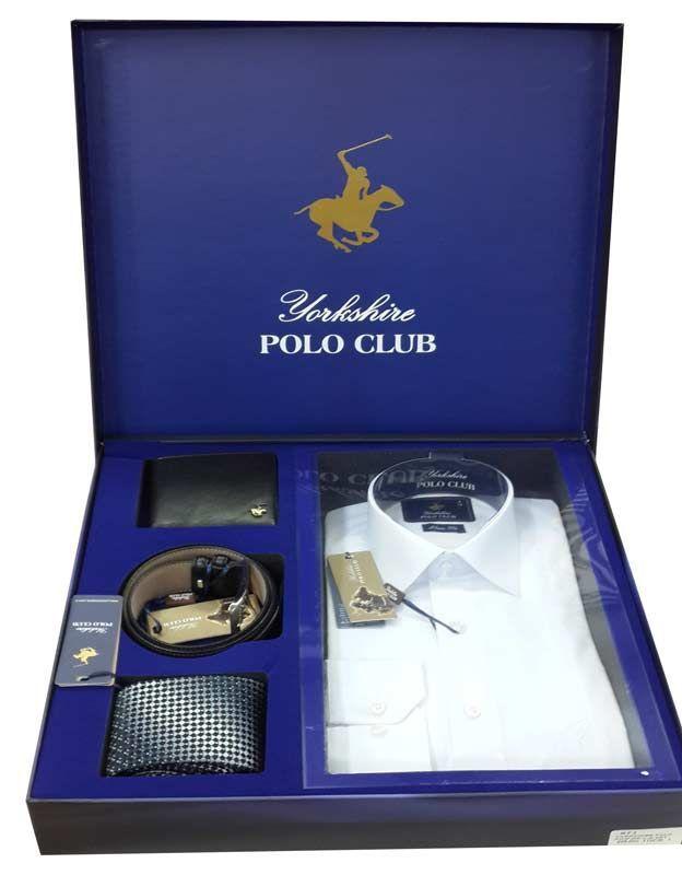 YorkShire Polo Club 4 parça Damat Hediye Seti 1 Poplin Gömlek 1 Kravat 1 Kemer 1 Cüzdan