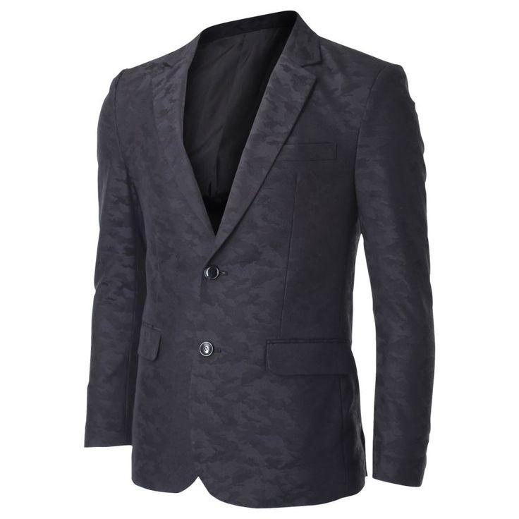 Men's Two Button Military Camo Suit Blazer Jacket (BJ451) #FLATSEVEN  FLATSEVENSHOP.COM