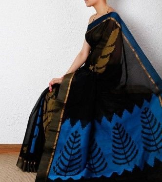 black cotton silk saree with ikat weave from indianroots,jpg