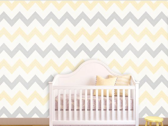 Self adhesive vinyl temporary removable wallpaper, wall decal - Grey&Yellow Chevron print - 050