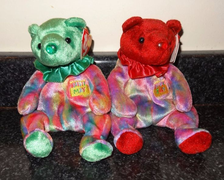 TY Beanie Babies Baby Birthday Birth Bears July & May Lot of 2 ~ TH #Ty