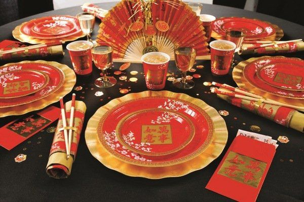 Chinese New Year decorations festive table decor red gold table setting
