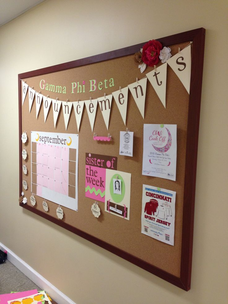 Chapter announcement board - post in chapter meeting room, Student Life Office, etc.