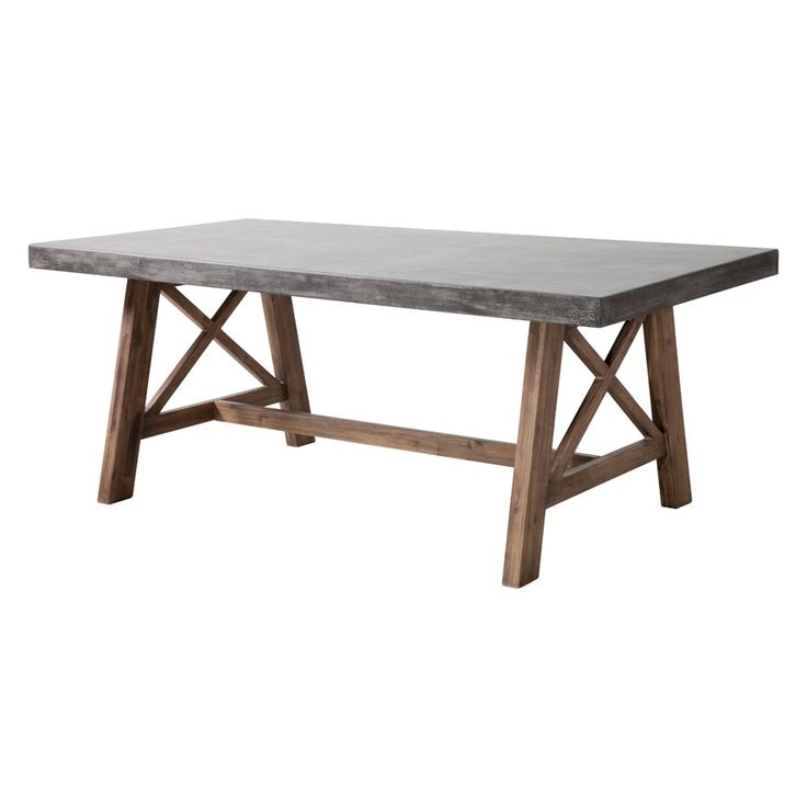 Rustic Cement Top Outdoor Dining Table natural