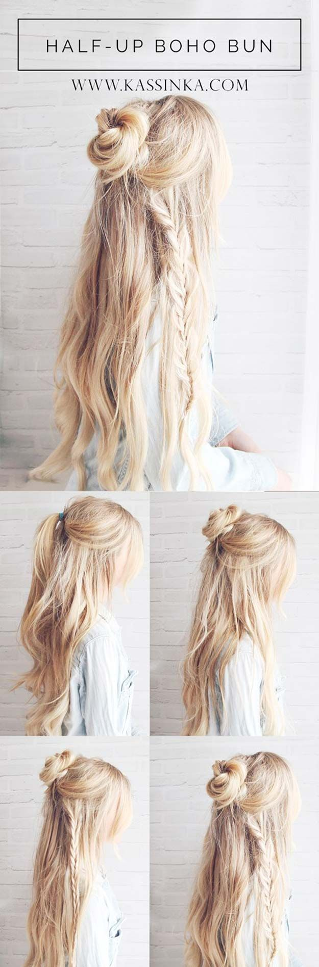Festival Hair Tutorials - Half-up Boho Braided Bun Hair Tutorial - Short Quick and Easy Tutorial Guides and How Tos for Braids, Curly Hair, Long Hair, Medium Hair, and that Perfect Updo - Great Ideas for That Summer Music Edm Show, Whether It's A New Hair Color or Some Awesome Accessories and Flowers - Boho and Bohemian Styles with Glitter and a Headband - thegoddess.com/festival-hair-tutorials