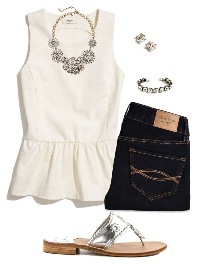 """Silver"" by sc-prep-girl ❤ liked on Polyvore featuring Madewell, Abercrombie & Fitch, J.Crew and Jack Rogers"