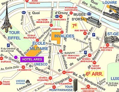 Paris Hotel Map Hotel Ares Eiffel Tower Travel And