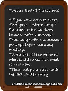 All Things Upper Elementary: Morning Meeting Greeting. Twitter Board