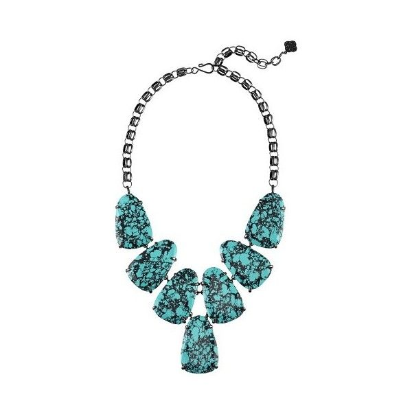 Kendra Scott Harlow Statement Necklace in Variegated Teal Magnesite ($195) ❤ liked on Polyvore featuring jewelry, necklaces, bib statement necklace, kendra scott necklace, teal necklace, kendra scott and statement necklaces