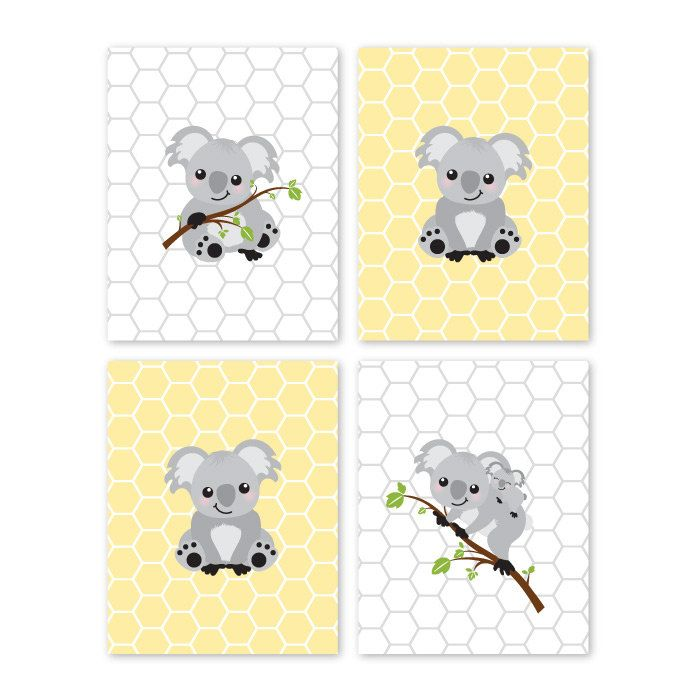 Koala Bear. Prints. Gray. Yellow. Home Decor. Nursery Decor. Baby Girl Nursery. Baby Boy Nursery. Children. Wall Art. Playroom Decor 006 by YassisPlace on Etsy