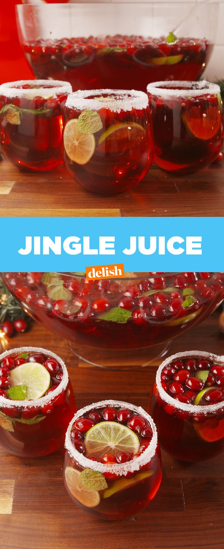 Jingle Juice will sleigh any holiday party. Get the recipe at Delish.com. #cranberry #alcohol #booze #boozy #cocktail #drinks #cranberryjuice #lime #drinkingideas #alcoholicbeverages #delish