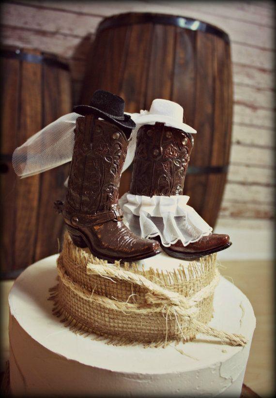 Cowboy Boots Wedding Cake Topper Western Themed Wedding Western Rustic  Wedding