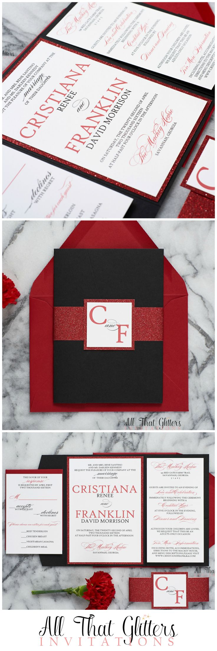 Black and Red Wedding Invitations are always classy and timeless. They fit the motif for all types of weddings, including Valentine's Day Weddings, Gothic Wedding Invitations and Black Tie Weddings. Check out our favorite, Cristiana