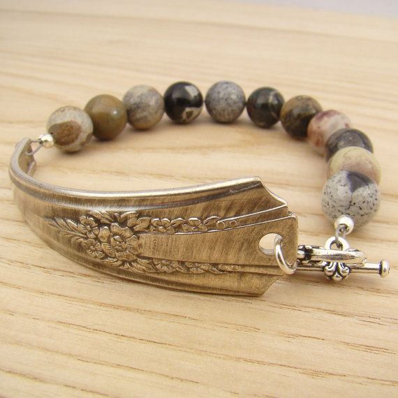 Spoon handle bracelet with silver leaf jasper by laurelmoonjewelry. Good Lord, this is beautiful.