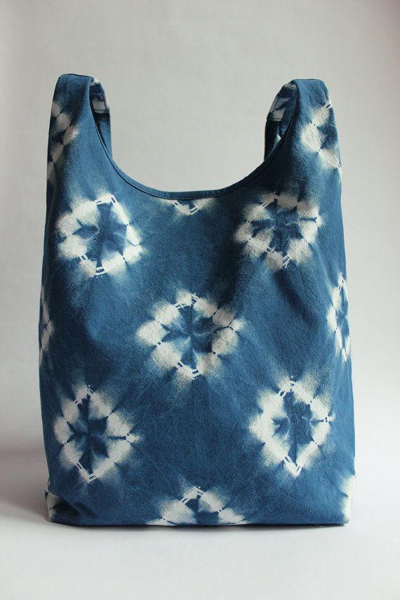 Diamonds Shibori Hand Dyed Cotton Tote Bag Japanese Bag Handbag Indigo Blue