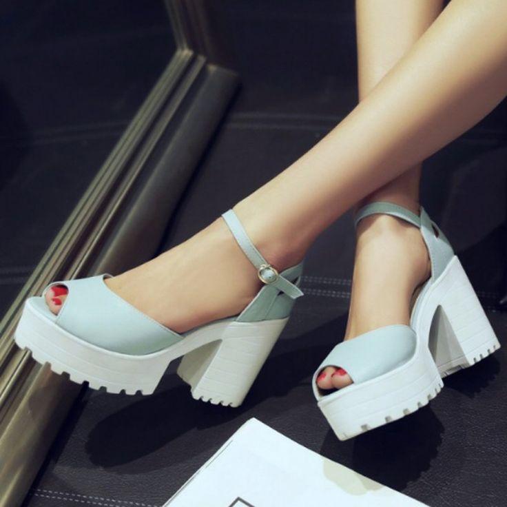 Повседневная женская обувь на высоком каблуке и высокой платформе, очень удобная! Горячая распродажа! купить на AliExpress