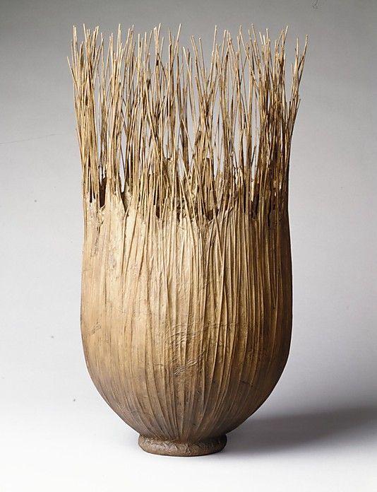 Brown Reed Basket by Mary Merkel-Hess (American, born Warterloo, Iowa, 1949) 1989 Reed and paper, Metropolitan Museum of Art
