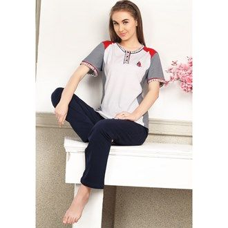 Pyjama Sets, Night Wear, Women, Fashion, Lulu, Pink Avenue, Pink Avenue Women's Pyjama Set 11703 , Women , Pink Avenue , 11703 ,  ,  ,  ,  ,  ,  , Top & Bottom : 100% Cotton , Summer ,  , 1 Pyjama Set , Machine wash warm with similar colors,Do not bleach, Do not dry clean, Do not tumble dry, Iron low required. There might be slight color variation due to lightings and flash while photo shoot.