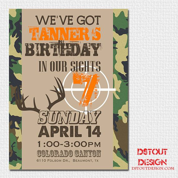 Boy Birthday Invitation Camo Hunting Theme by DStoutDesigns, $15.00