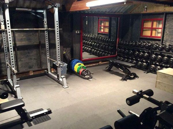 This basement gym (looks to be a basement) is total beast mode. Insane dumbbell collection #beastmodeon