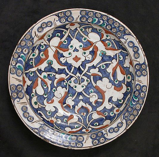 Dish with split-leaf palmette design | Iznik, Turkey, ca. 1625-1650 | Stonepaste; polychrome painted under transparent glaze | The Metropolitan Museum of Art, New York