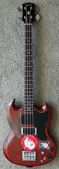 """mike watt's 1969 gibson eb-3 """"the andy bass"""" w/aguilar opb-3 eq and pickup balance controls, schaller bridge and custom pick guard, middle bartolini mm42cbjd pickup  bridge lace bassbar pickup  (original pickups removed)"""
