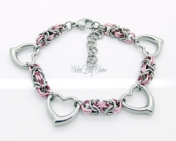 Byzantine Chainmaille bracelet with hearts in Stainless Steel and anodised aluminium