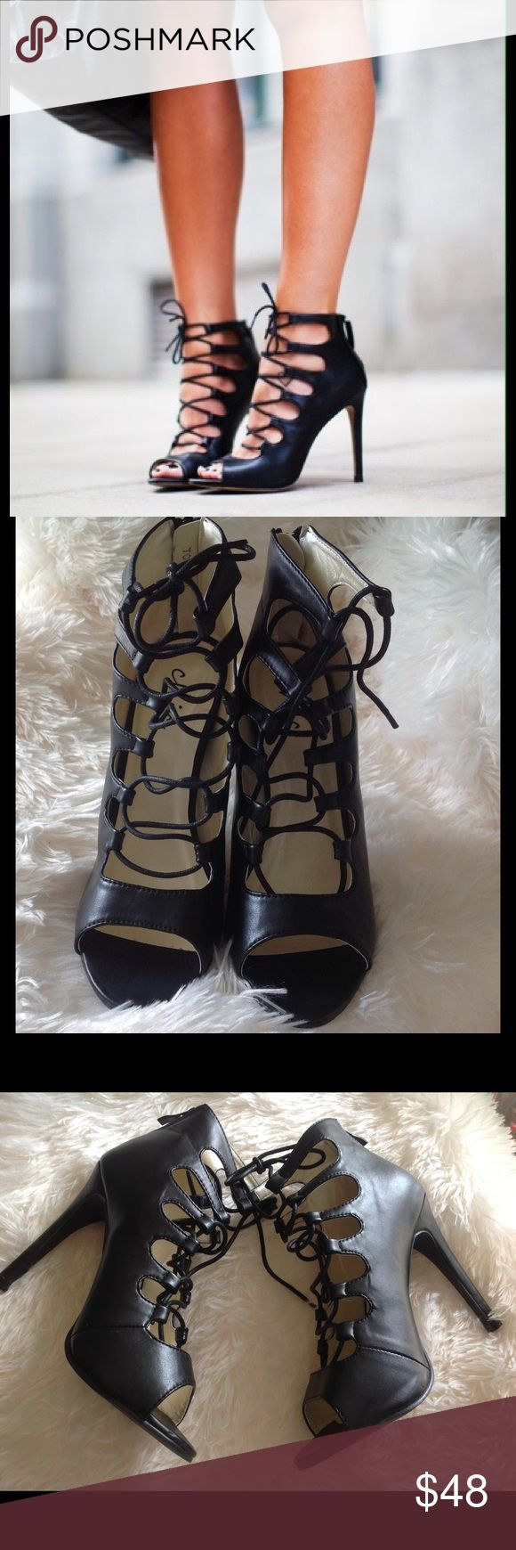 """Black faux leather Lace Up Heels  Brand New No Box From England. Faux leather Lace ups. 4"""" heel. UK size 6. US size 8. Best selling style. Very similar to Zara, but, these are by CHIC. No box, but brand new. Zara Shoes Heels"""