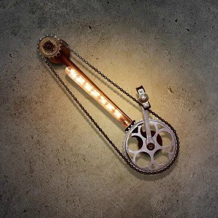 Vintage Loft Bicycle chain Shape Iron Wall Lamps Industrial Wall Socnces…